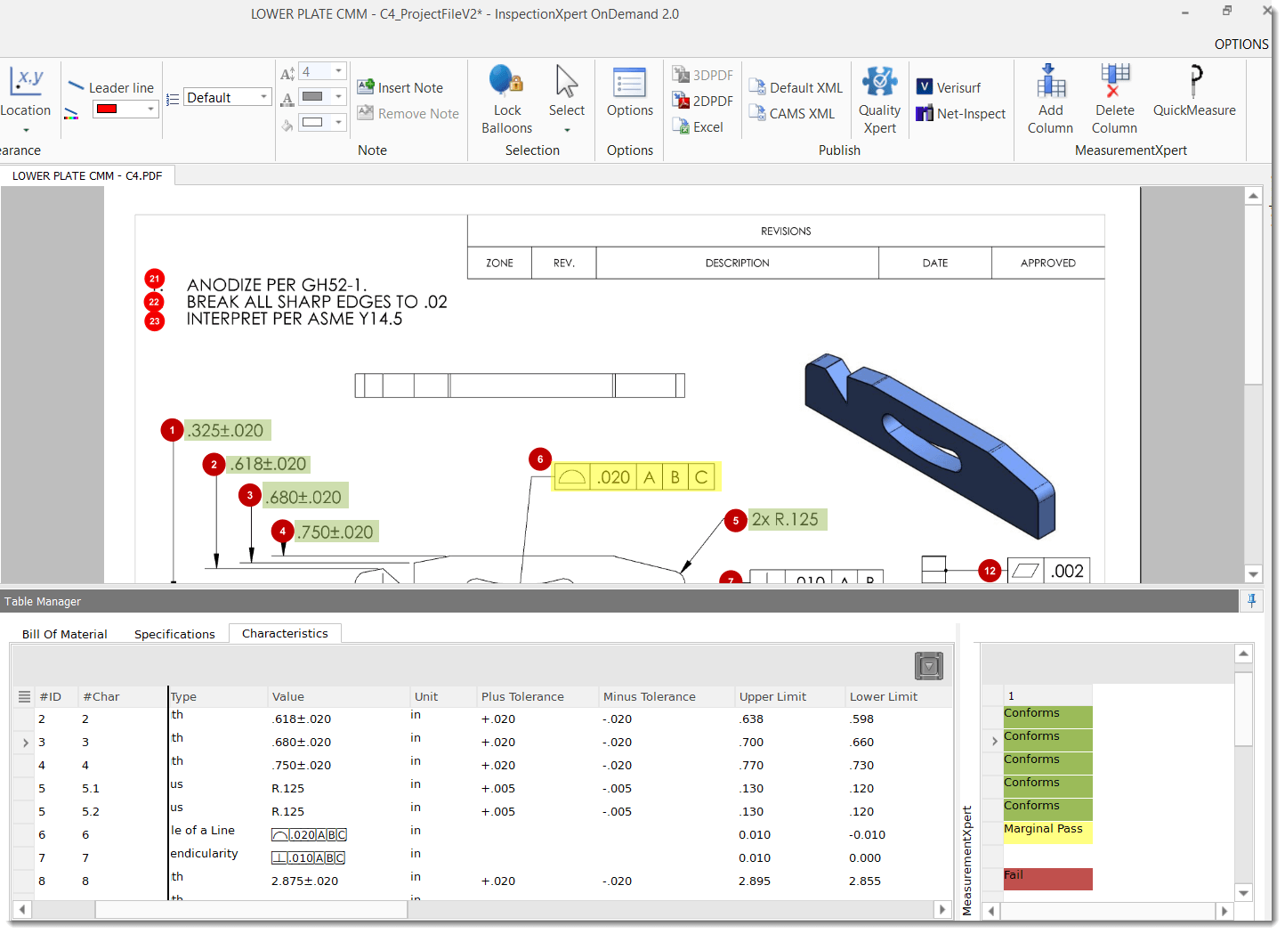 InspectionXpert's QuickMeasure tool