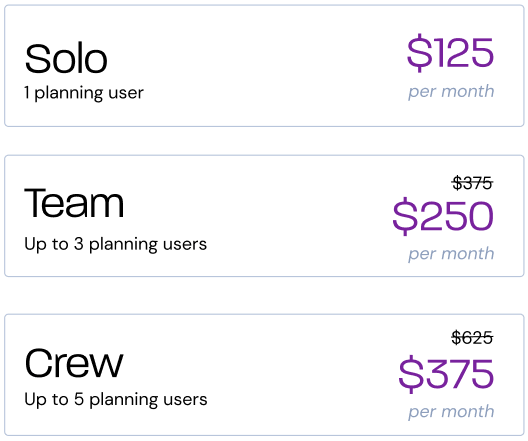 Pricing by team per month
