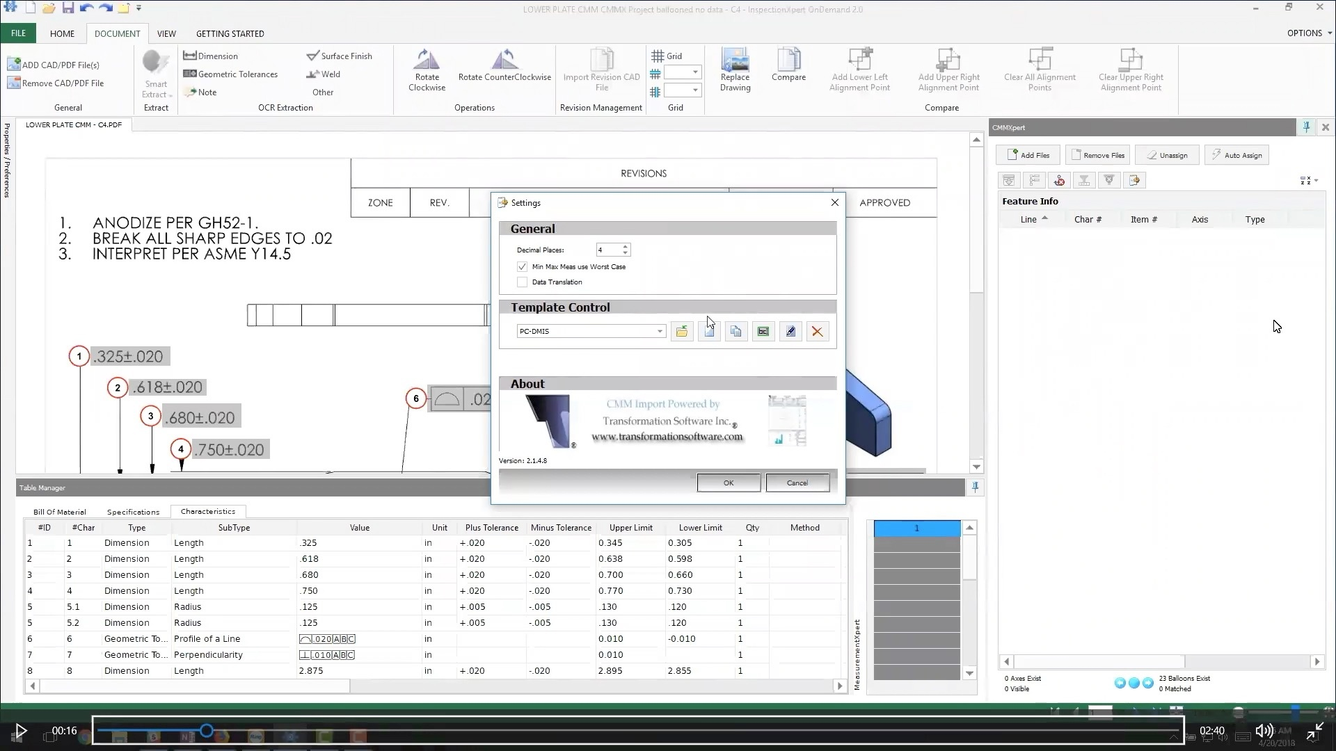 import PC-DMIS cmm part inspection report without typing