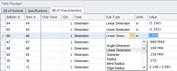 Edit data in the Bill of Characteristics table_1