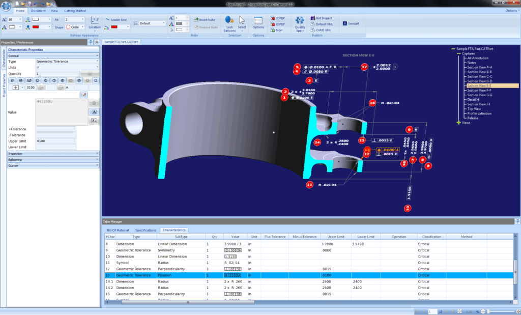 3D Catia part ballooned for inspection, model based definition