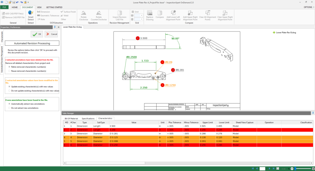 2D CAD model, revisions highlighted, model based definition, InspectionXpert
