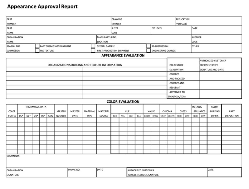 Production Part Approval Process Template 1
