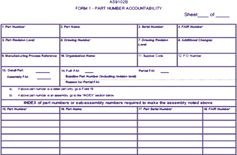 Background image outline of AS9102B form 2