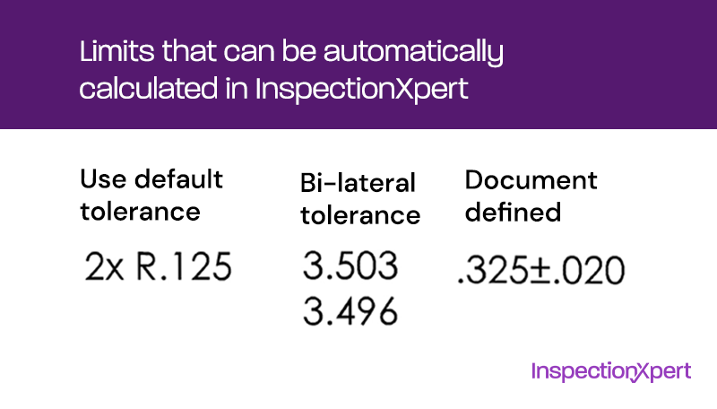 tolerances that can be auto-calculated in InspectionXpert